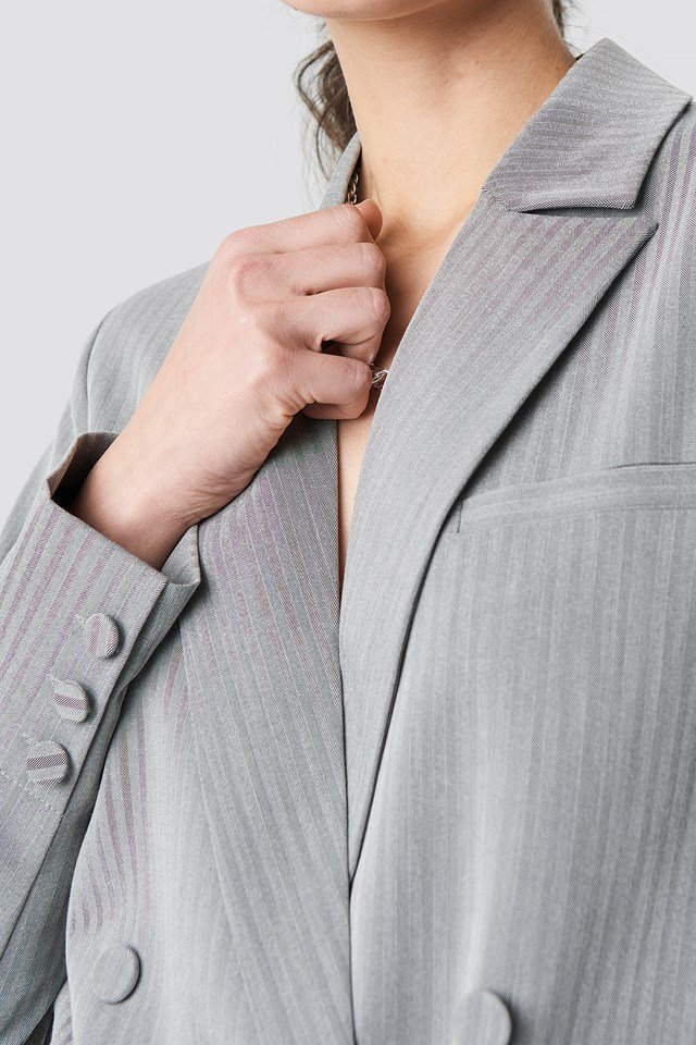 Two Tone Striped Double Breasted Blazer Grey