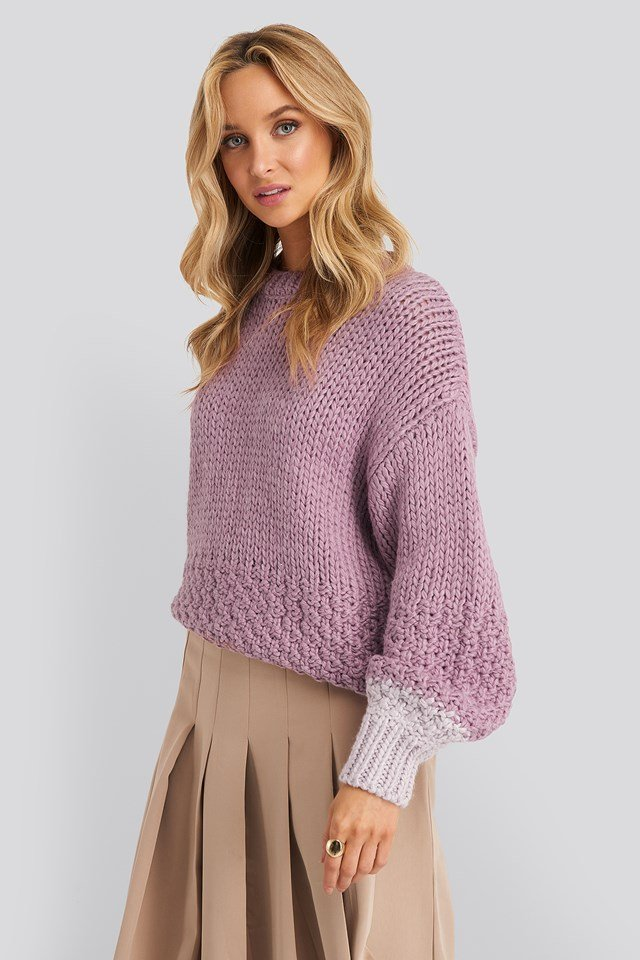 Two Toned Knitted Sweater NA-KD