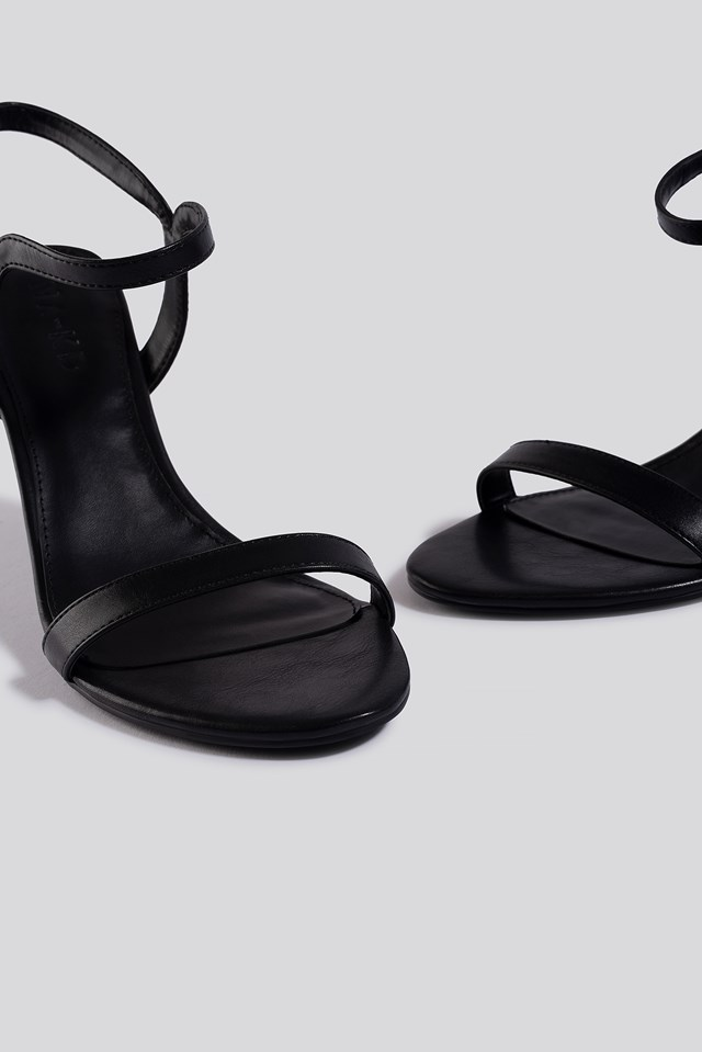 Two Way Ankle Strap Heels Black