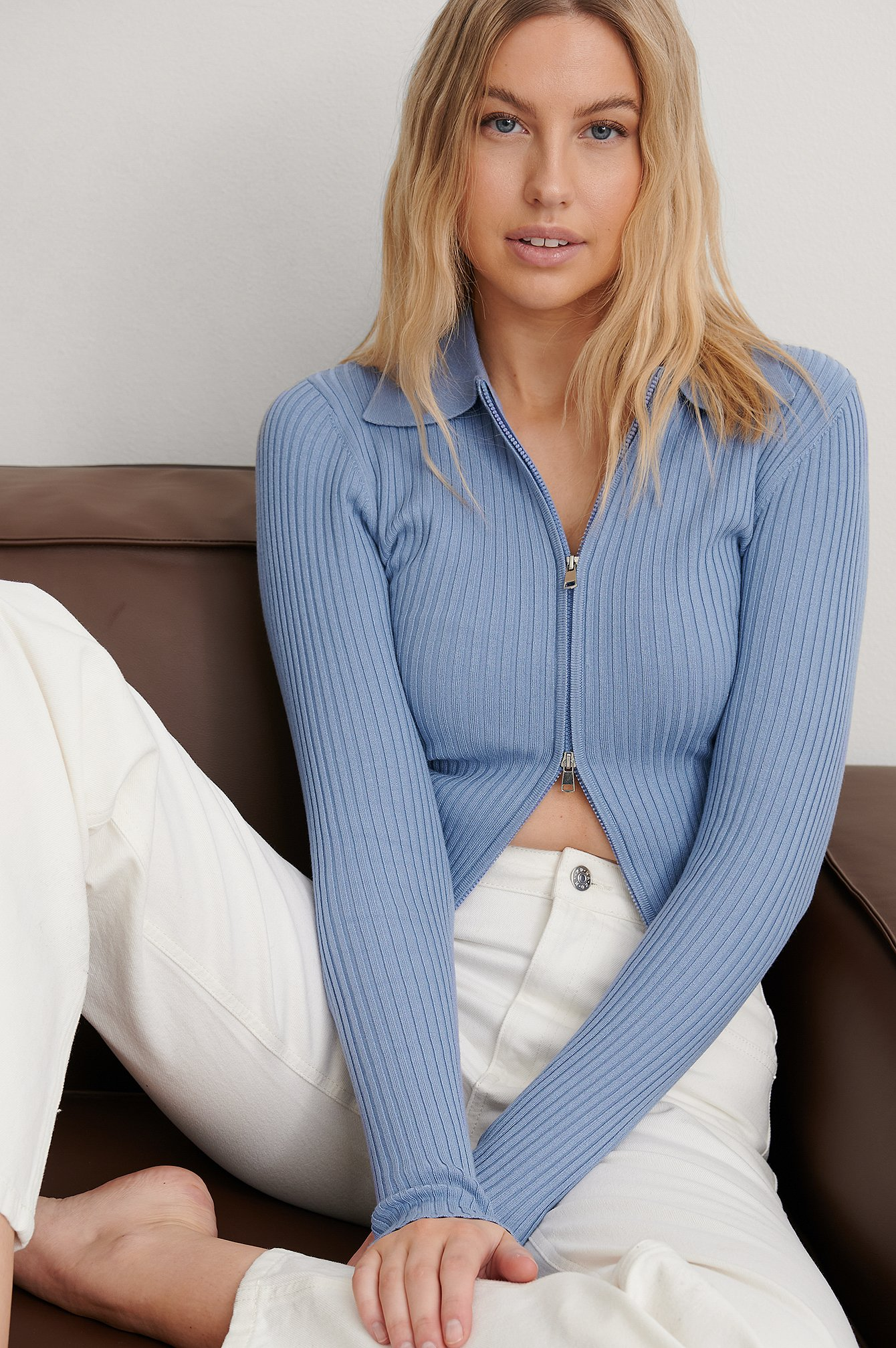 Dusty Blue Two Way Zipper Knitted Sweater
