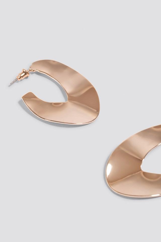 Uneven Flat Hoop Earrings Gold