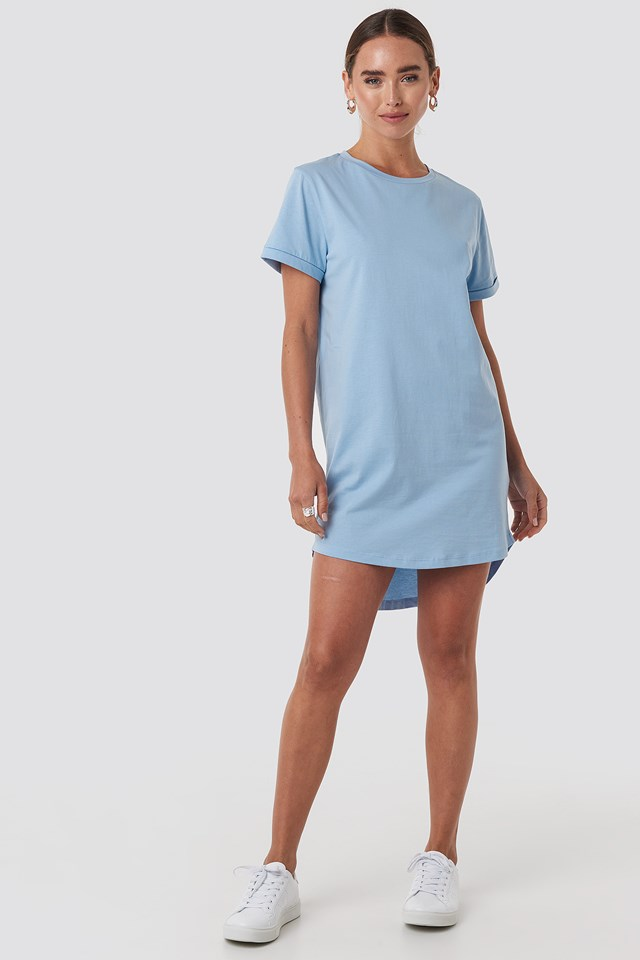 Uneven Hem Oversized T-shirt Dress Dusty Blue