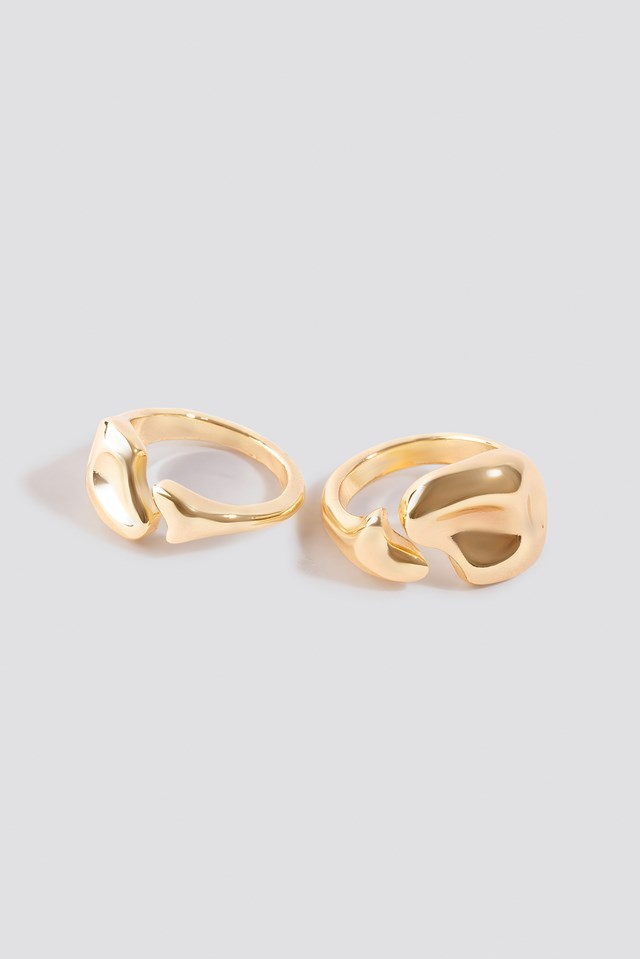 Uneven Open Ring Set Gold