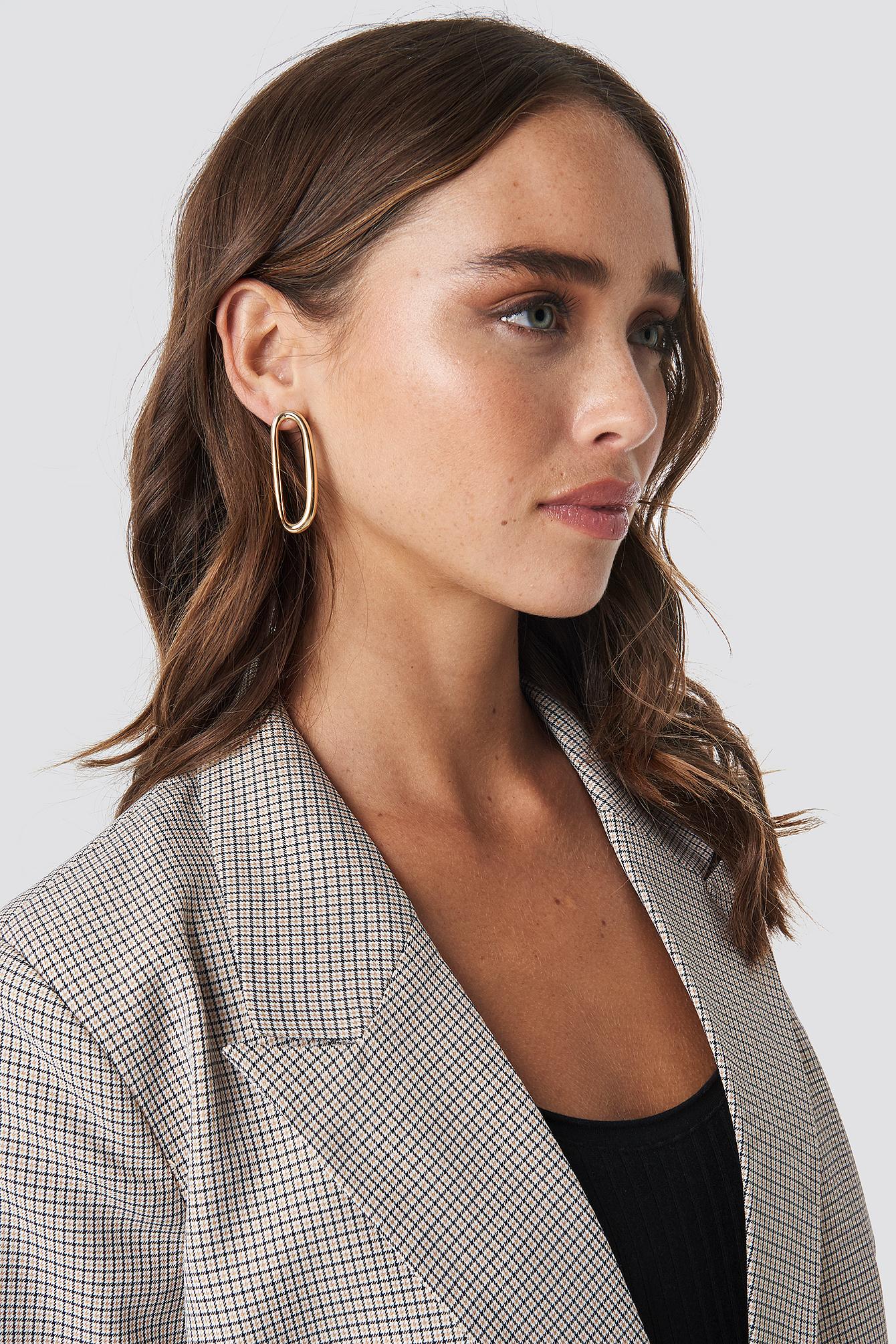 Uneven Oval Stud Earrings NA-KD.COM