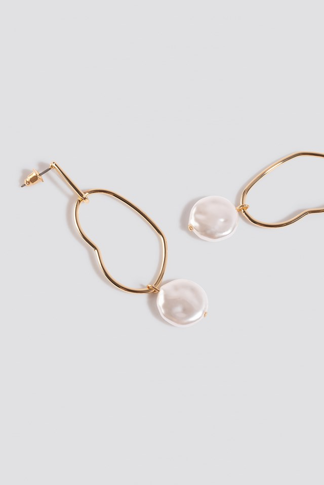 Uneven Wire Pearl Drop Earrings Gold