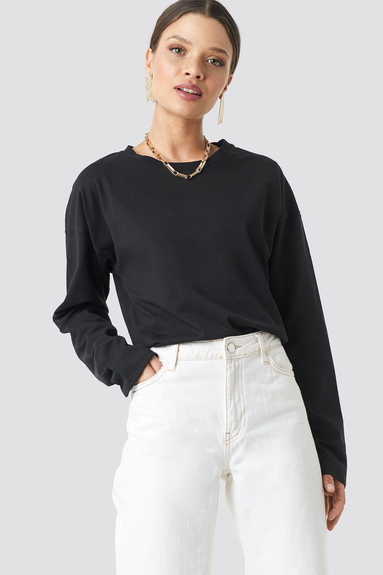 Recycled Deep Round Neck Rib Top Brown | na-kd.com