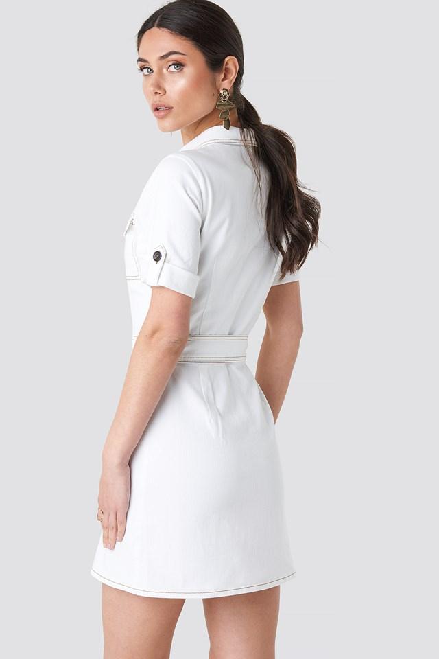 Utility Short Sleeve Dress White