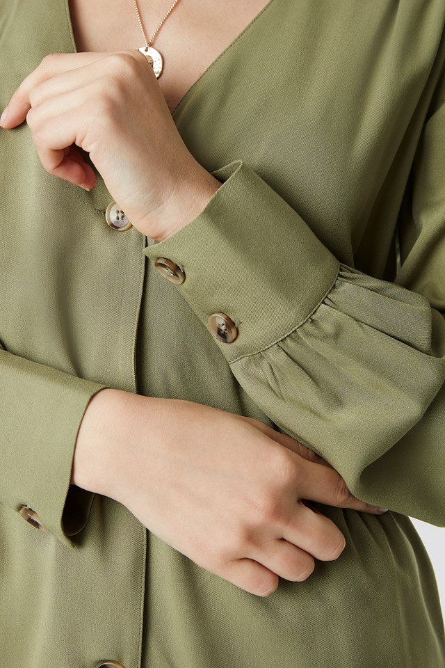 V-Cut Button Up Blouse Khaki