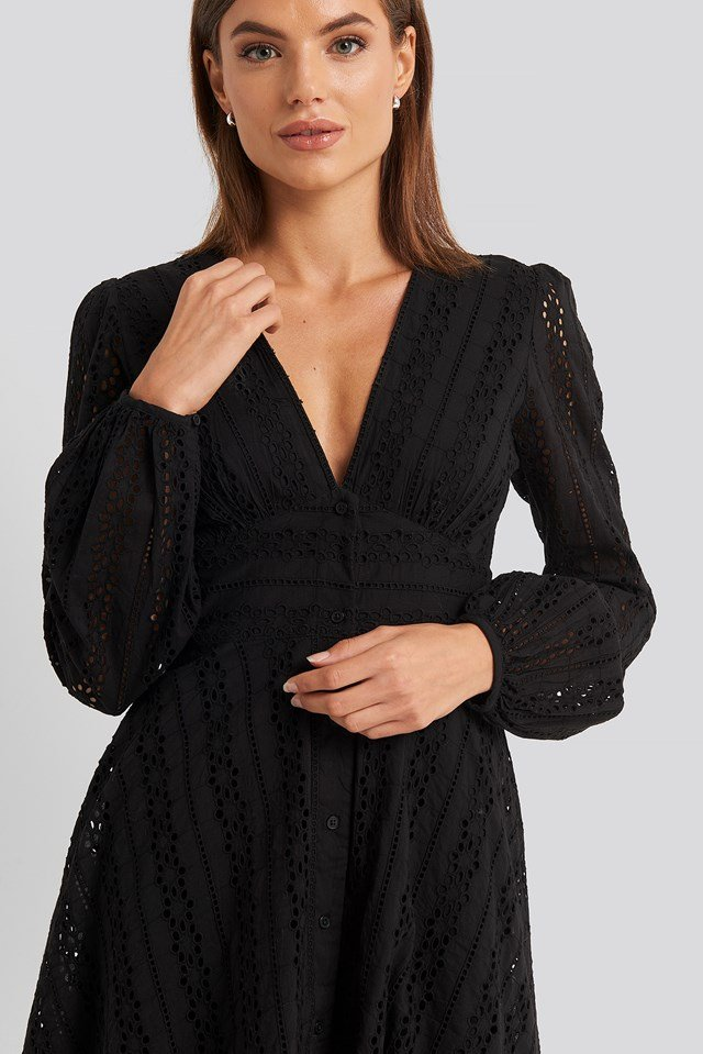 V-Neck Anglaise LS Mini Dress Black