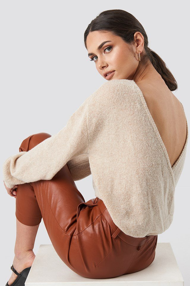 V-Neck Back Overlap Knitted Sweater Beige