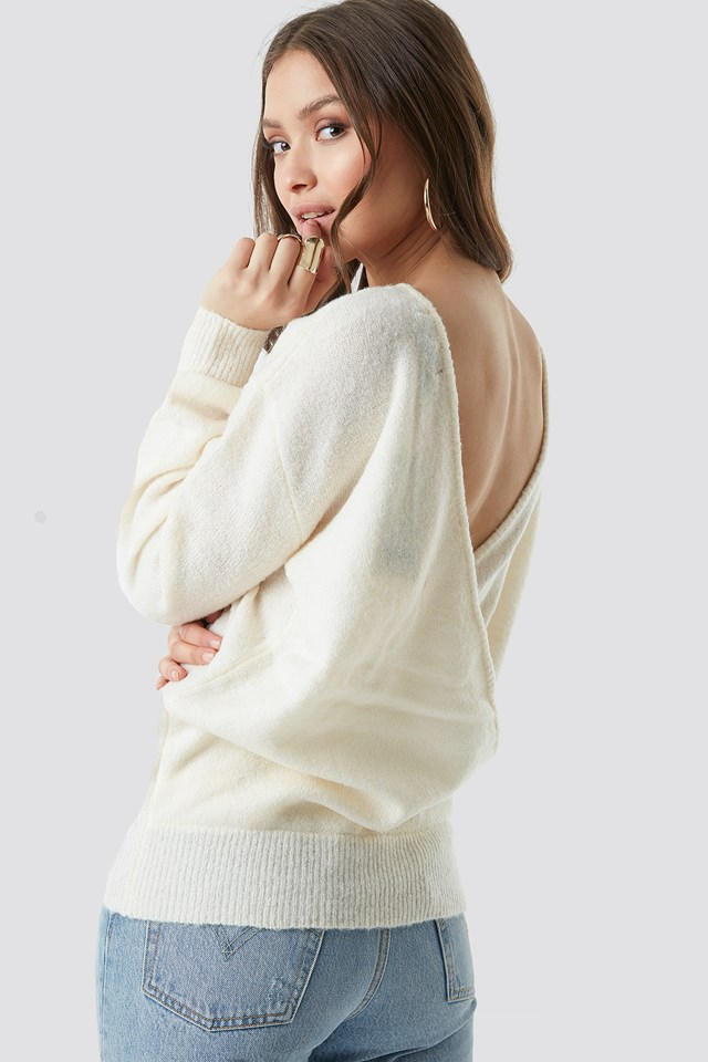 V-Neck Back Overlap Knitted Sweater Offwhite
