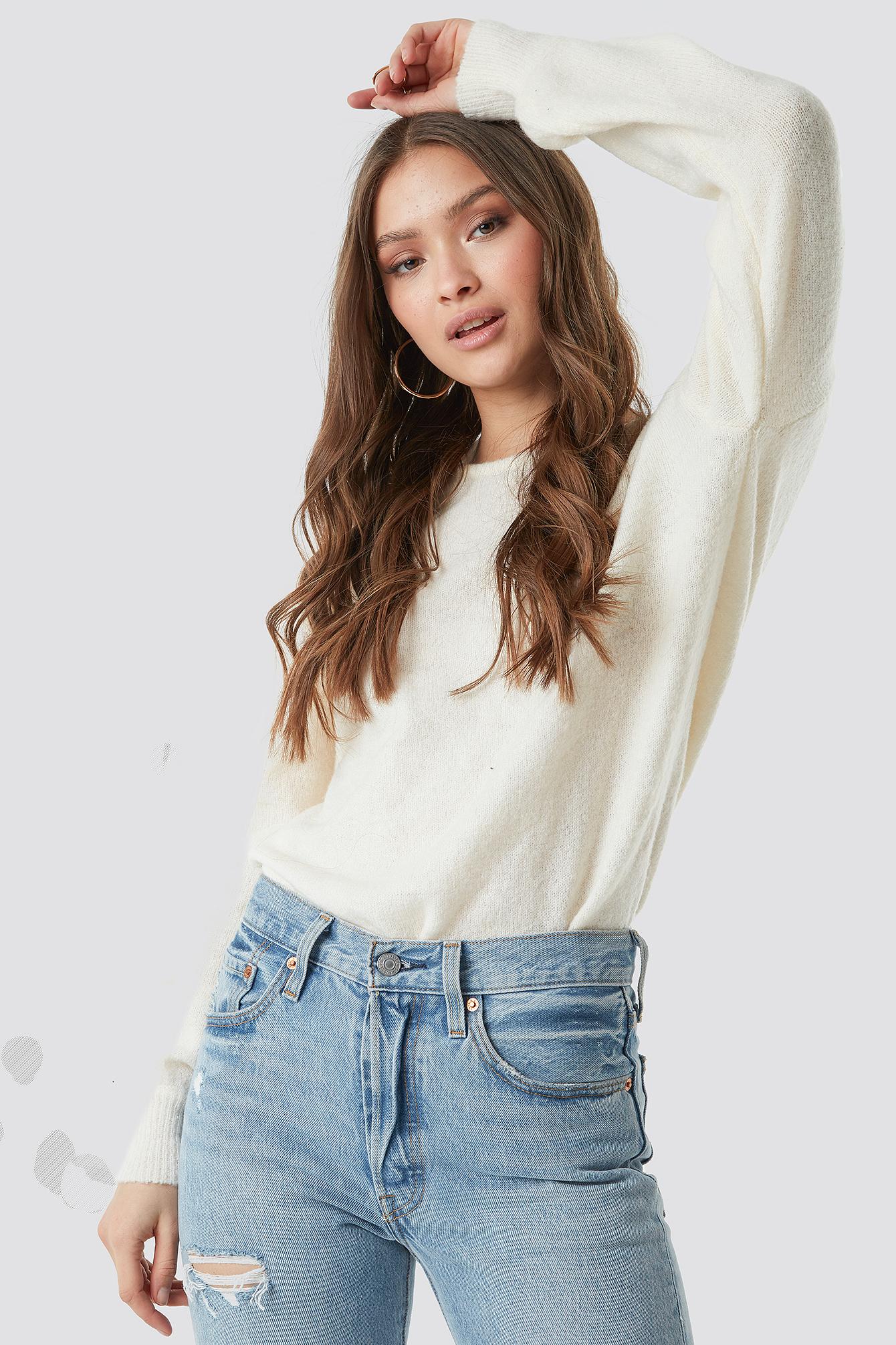 V-Neck Back Overlap Knitted Sweater NA-KD.COM