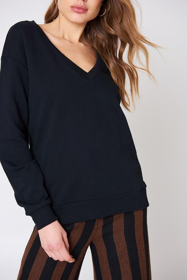V-neck Basic Sweater Black