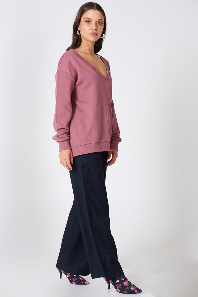 V-neck Basic Sweater Purple Rose
