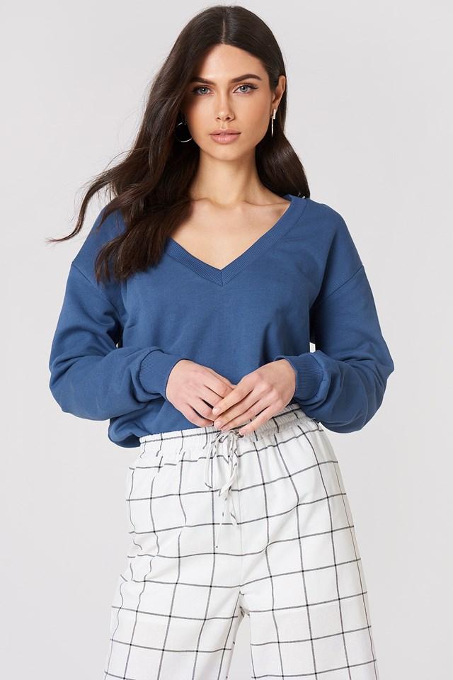 V-neck Basic Sweater Dark Dusty Blue