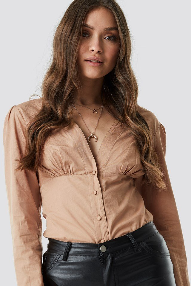 V-Neck Buttoned Front LS Top NA-KD Trend
