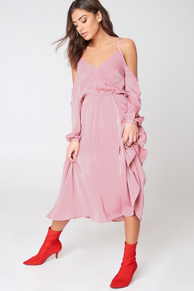 V-Neck Cold Shoulder Midi Dress Dusty Pink
