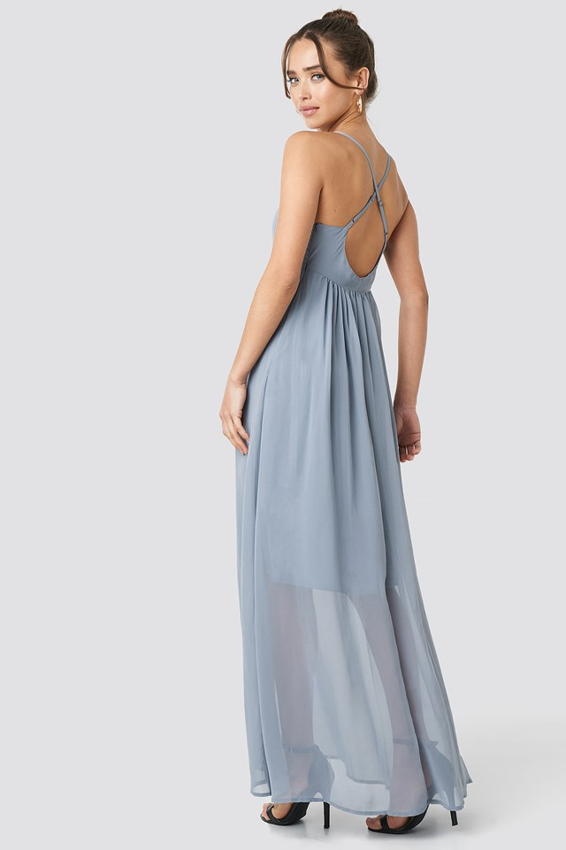 V-Neck Cross Back Maxi Dress Dusty Blue