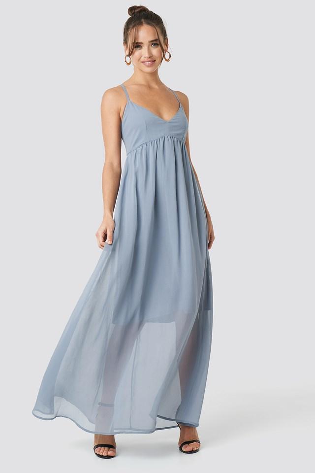 V-Neck Cross Back Maxi Dress Dusty Blue