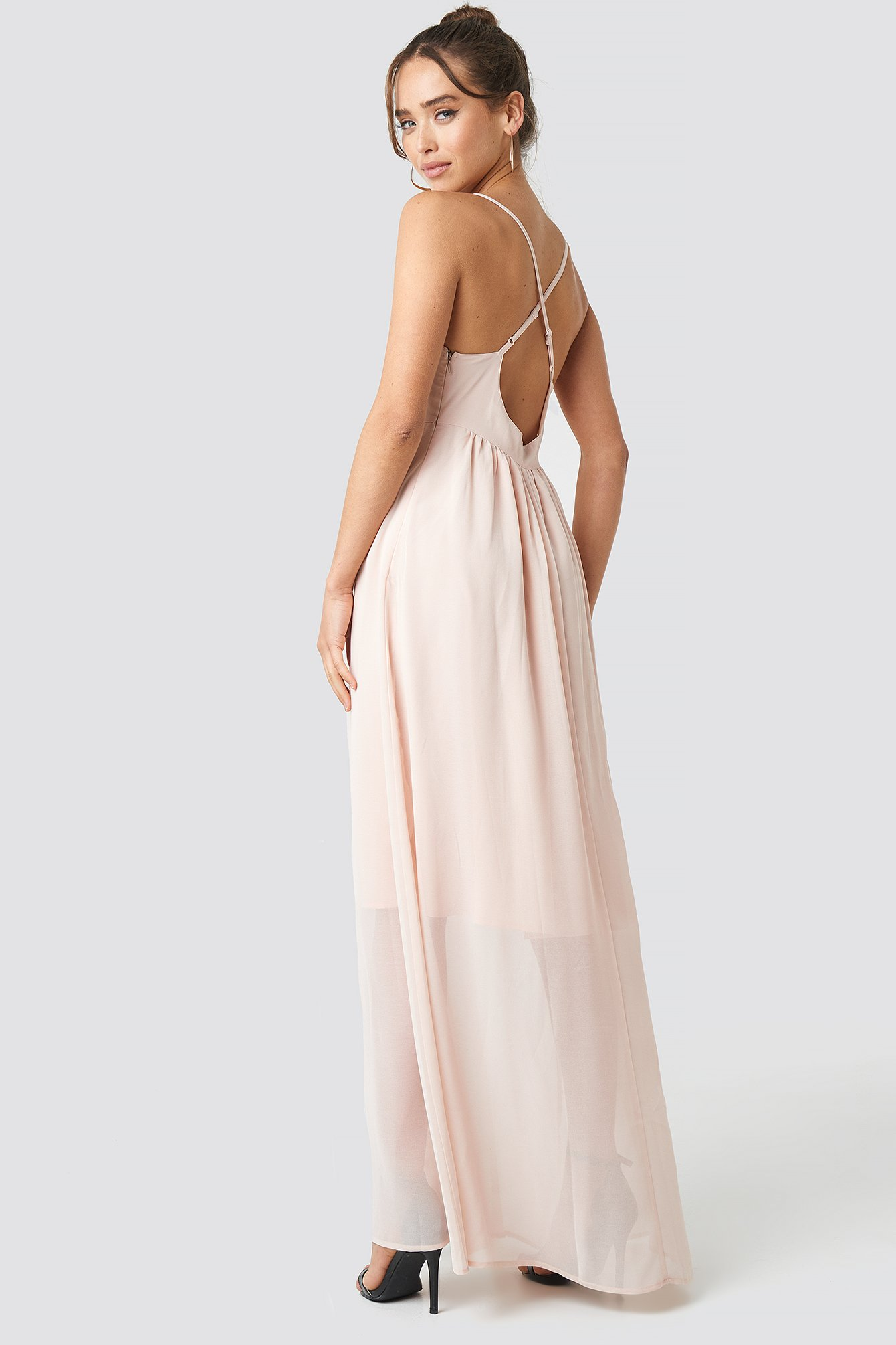 Powder Pink V-Neck Cross Back Maxi Dress