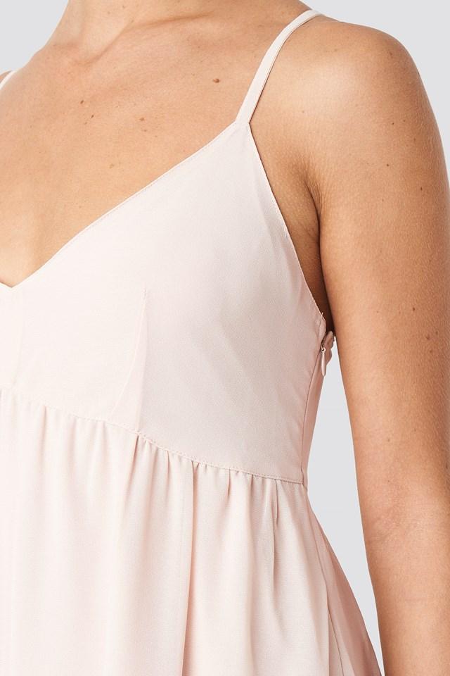 V-Neck Cross Back Maxi Dress Powder Pink