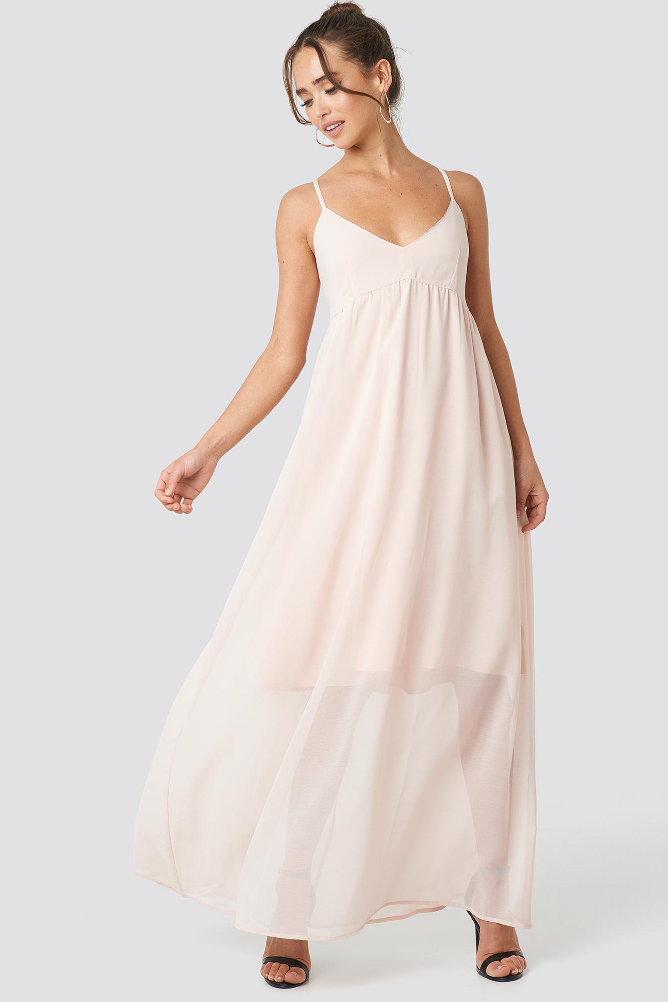 V-Neck Cross Back Maxi Dress NA-KD.COM