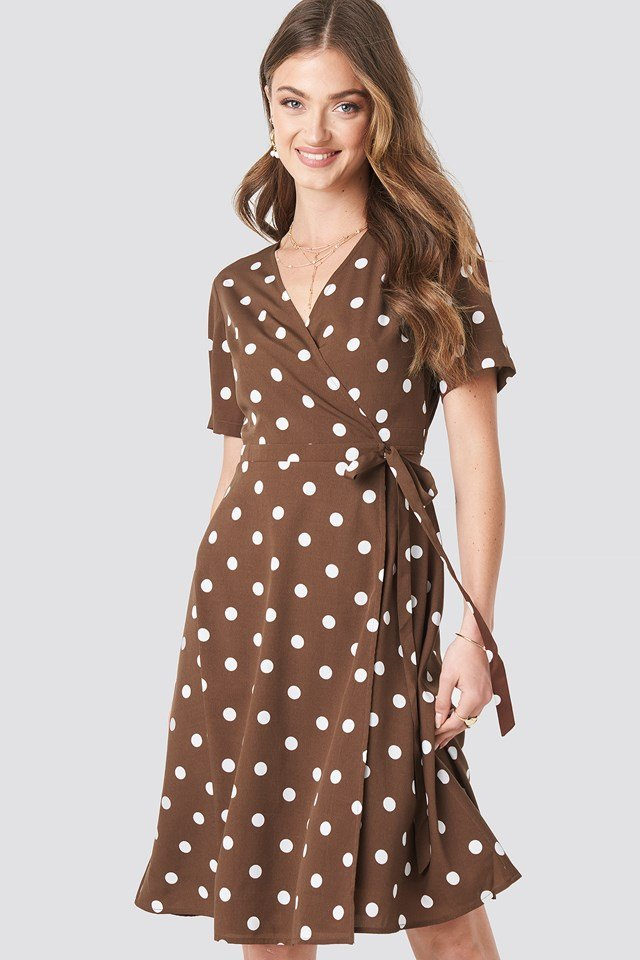V-Neck Dotted Midi Dress Brown/White Dots