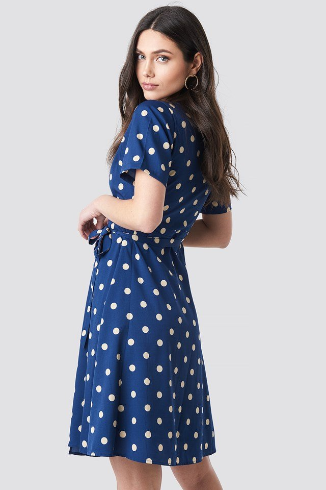 V-Neck Dotted Midi Dress Blue/Beige Dots