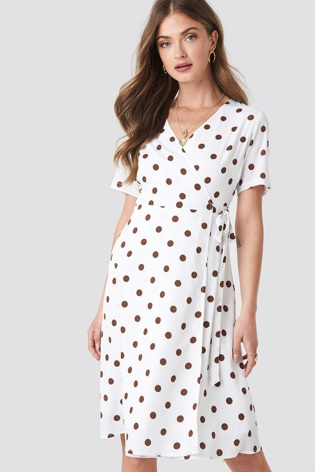 V-Neck Dotted Midi Dress NA-KD Boho