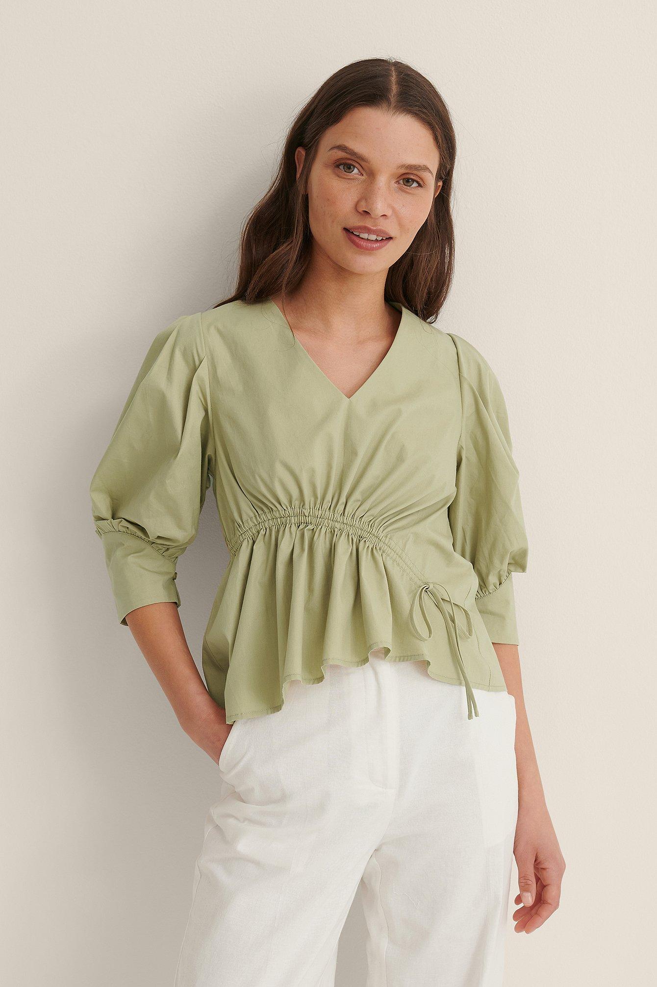 na-kd trend -  Bluse Mit Kordelzug - Green