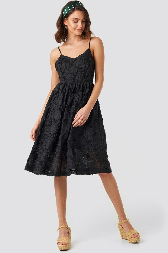 V-Neck Flower Applique Dress Black