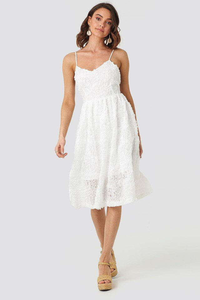 V-Neck Flower Applique Dress White