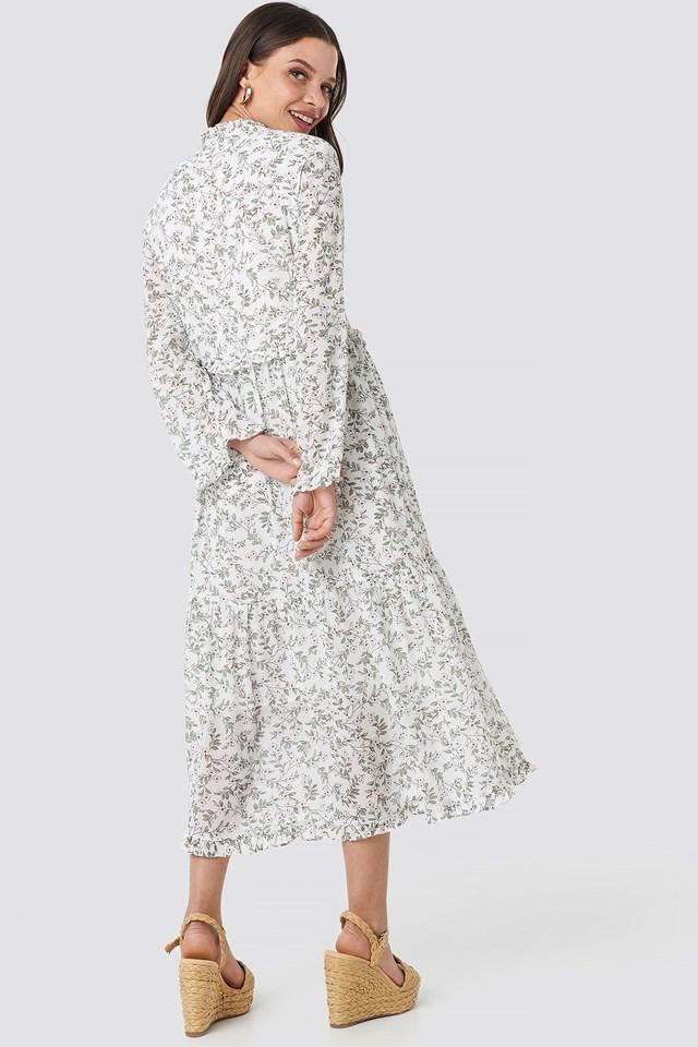 V-Neck Flower Print Chiffon Dress White Flower