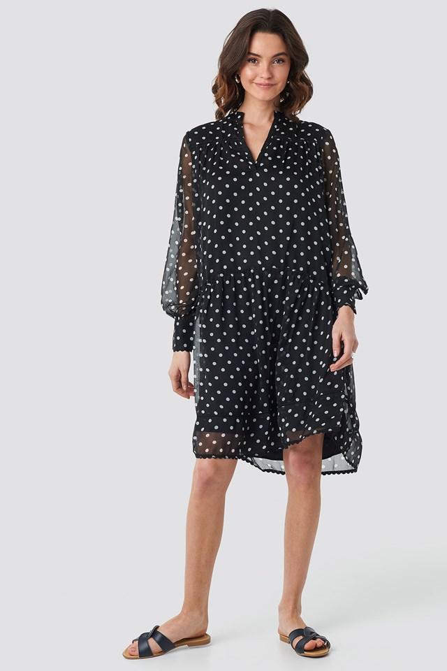 V-Neck Flowy Chiffon Dress Black/White dots