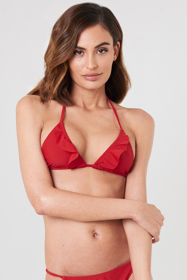 V neck Frill Bikini Top Red