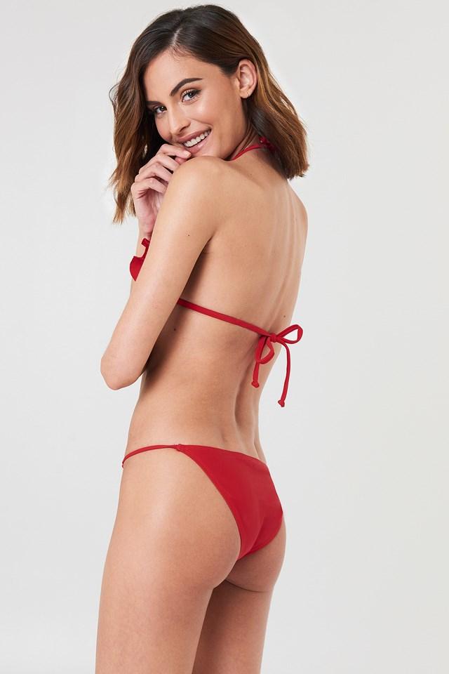 V neck Frill Bikini Top Red