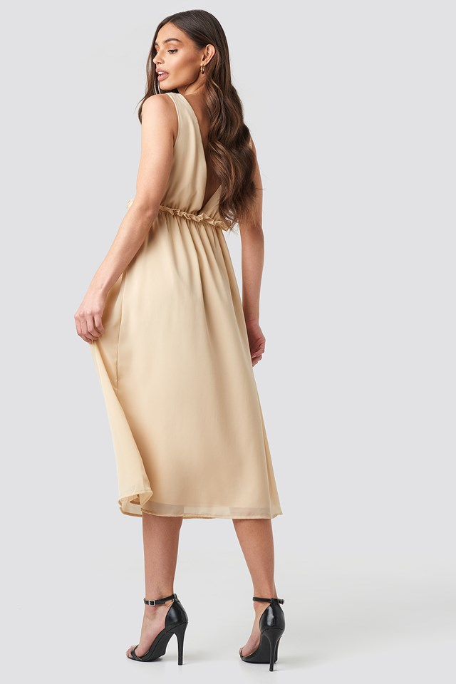V-Neck Frill Waist Flowy Dress Beige