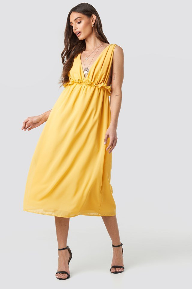 V-Neck Frill Waist Flowy Dress Citrus