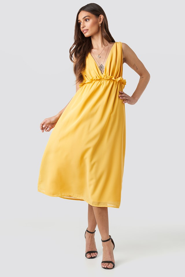 V-Neck Frill Waist Flowy Dress Citrus