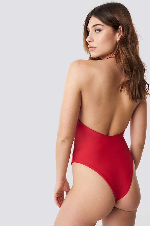 V-neck Halterneck Swimsuit Red