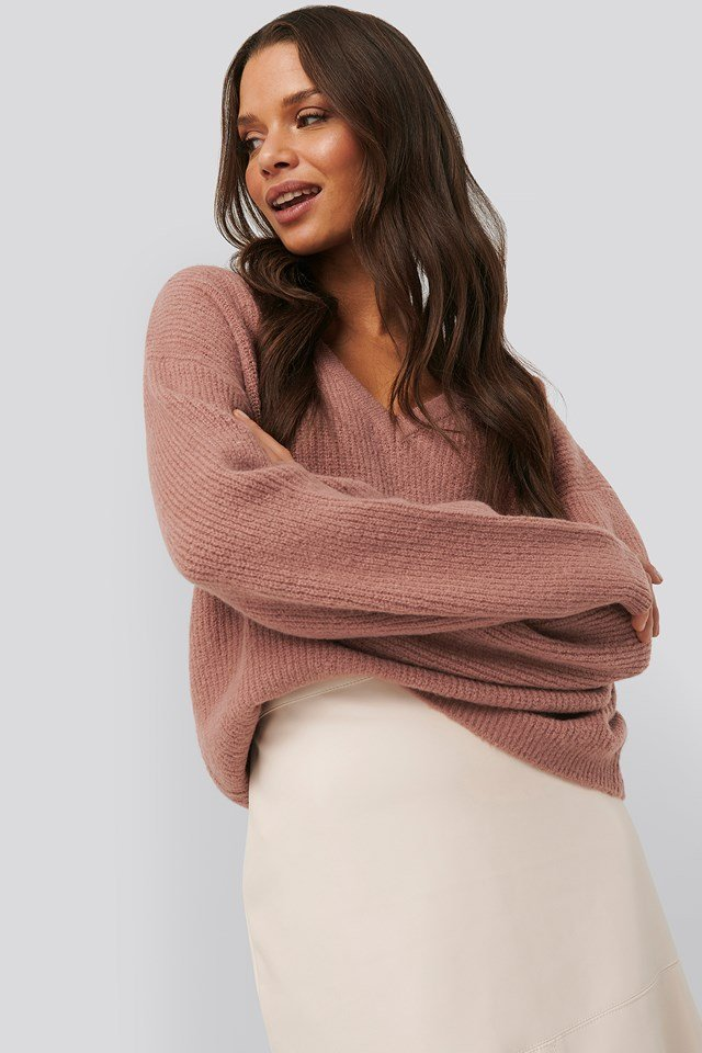 V-neck Knitted Sweater Dusty Pink
