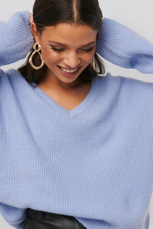 V-neck Knitted Sweater Lilac