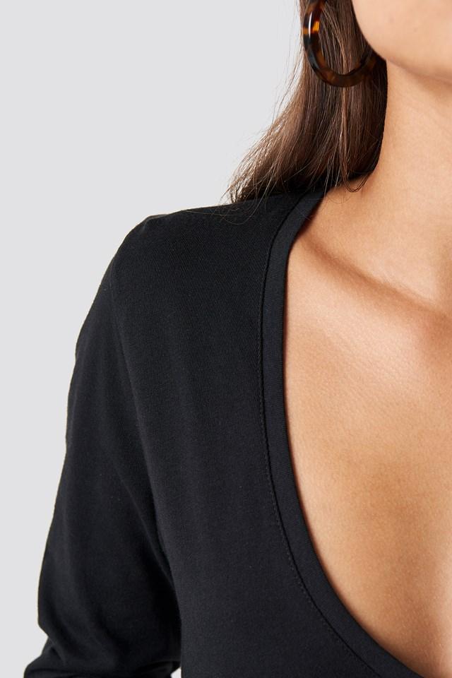 V-neck Long Sleeve Top Black