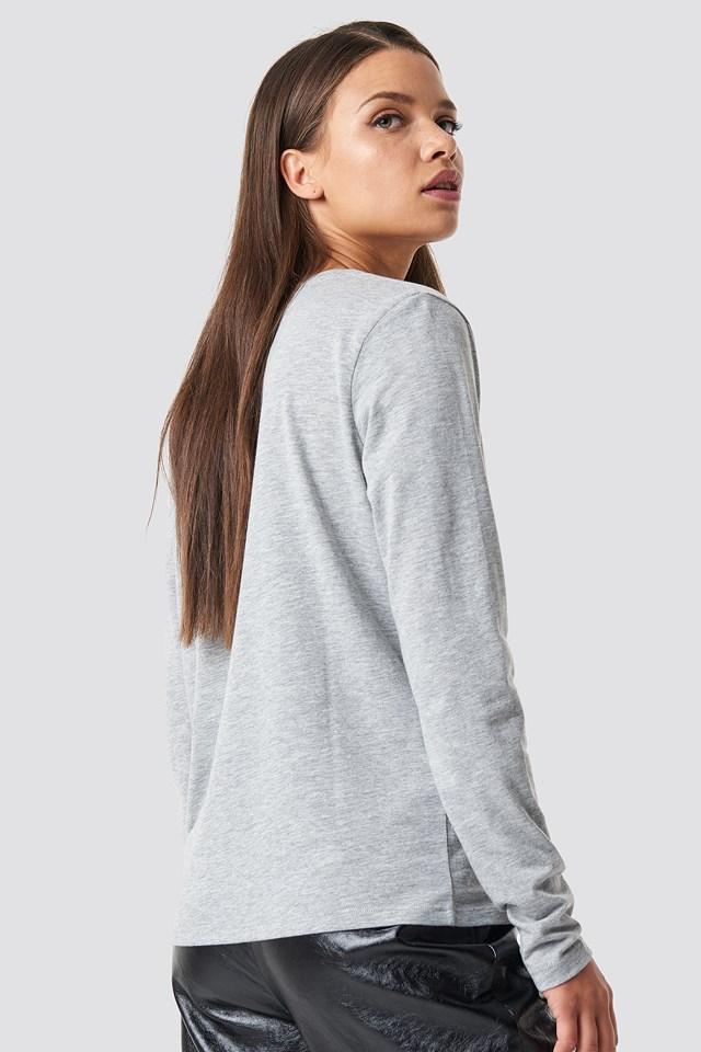 V-neck Long Sleeve Top Grey Melange