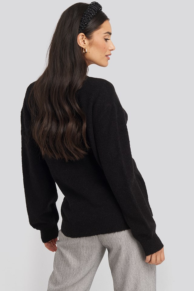 V-Neck Overlap Knitted Sweater Black