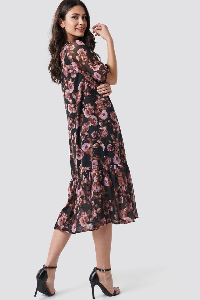 V-Neck Puff Sleeve Chiffon Dress Black/Pink Flower Print