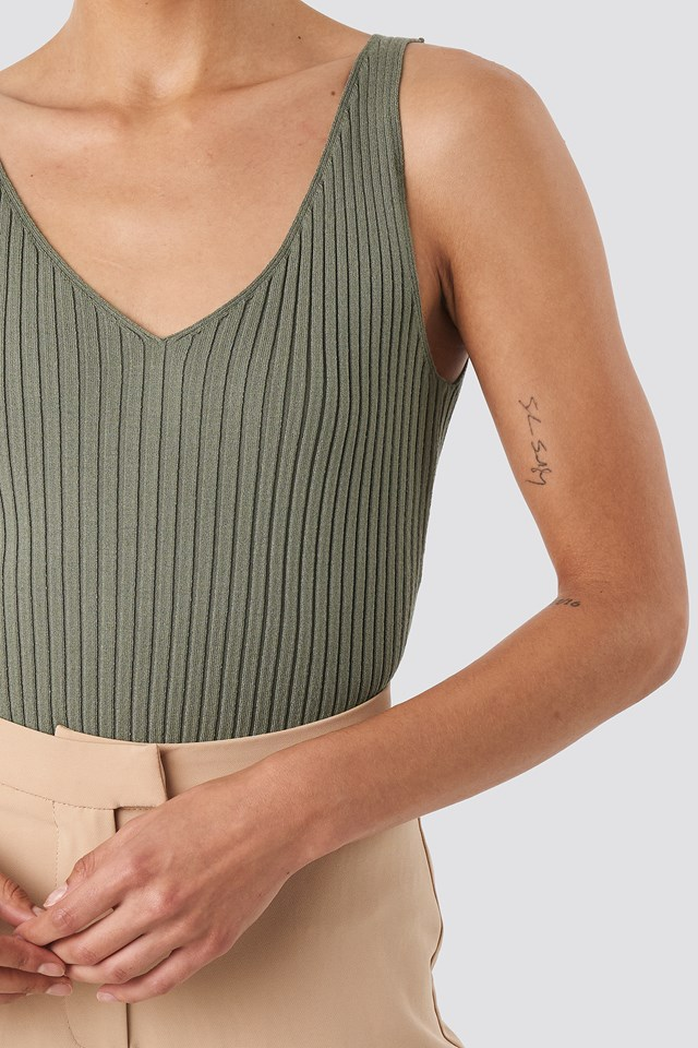 V-neck Ribbed Knitted Top Khaki