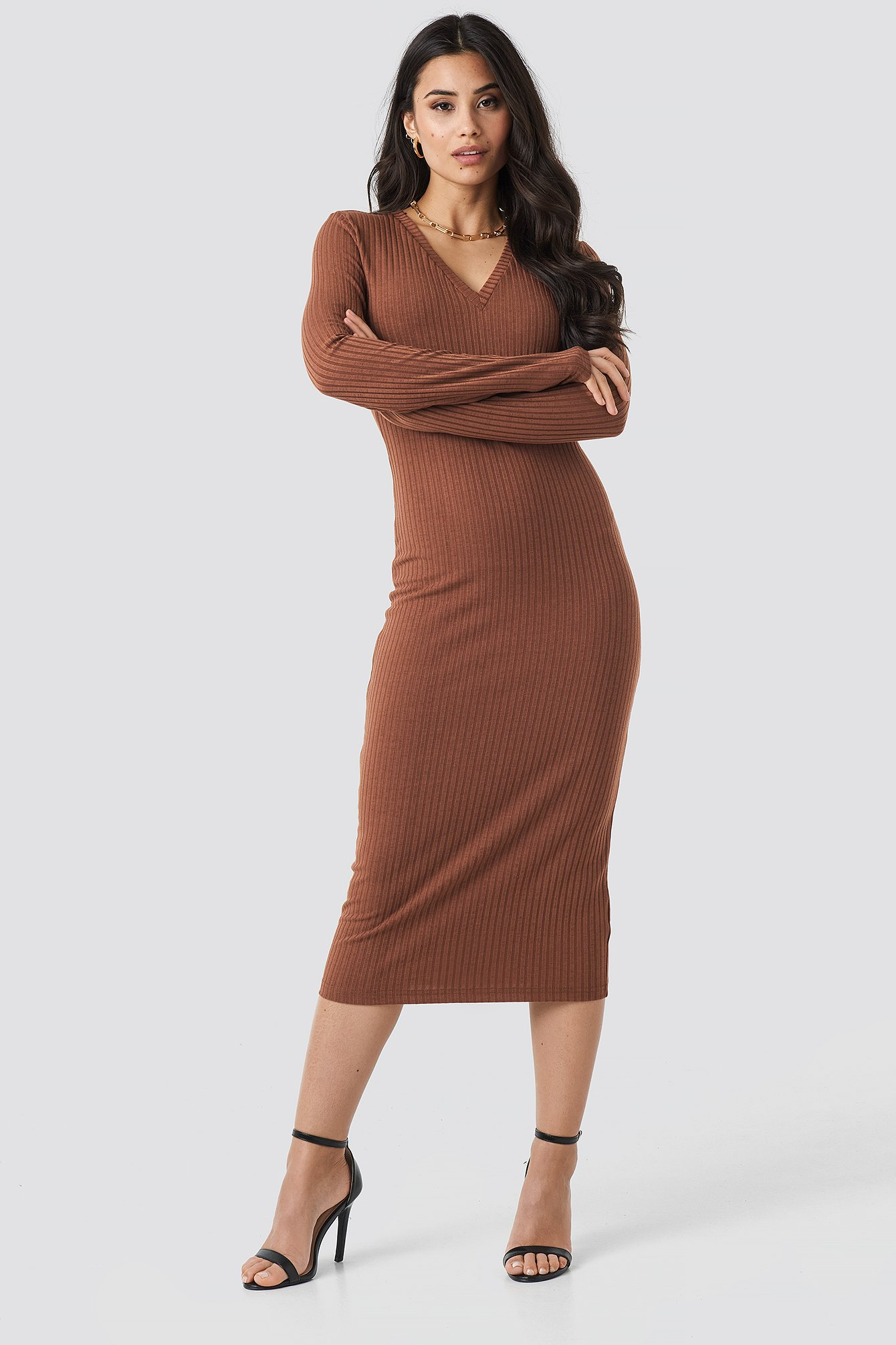 V-neck Ribbed Midi Dress NA-KD.COM