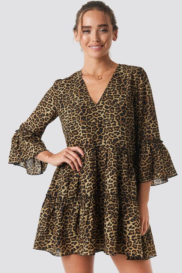 V-Neck Ruffle Mini Dress Leoprint