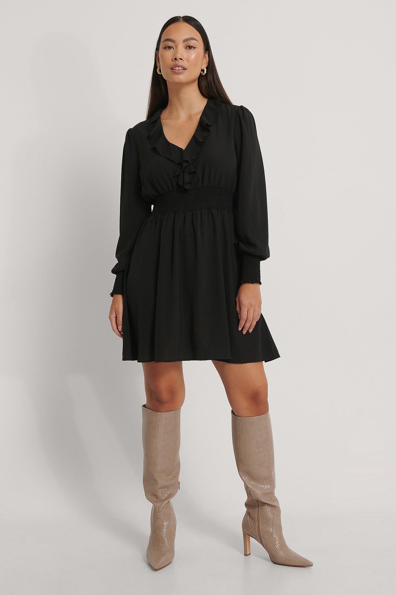 NA-KD Boho V-Neck Ruffle Smocked Waist Mini Dress - Black